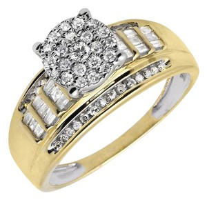 Other Flower Round-Cut and Baguette Diamond Engagement Ring 3/4ct.