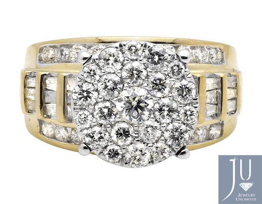 Other Flower Round and Baguette Diamond Engagement Ring 2.0ct. Image 2
