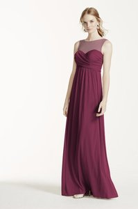 David's Bridal Wine Long Mesh Dress With Illusion Neckline Style F15927 Dress