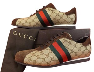 Gucci Mens Brown Canvas Suede Gg Guccissima Icon Lace Up Web Sneakers 14.5