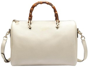 Gucci Gg White Bamboo Tote Cream Satchel