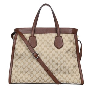 Gucci Gg Brown Beige Leather Canvas Tote