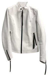 THE FACE New York white Leather Jacket
