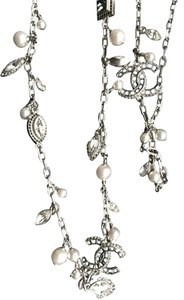 Chanel Chanel Necklace - Metal, Strass & Glass Pearls, Silver, Crystal