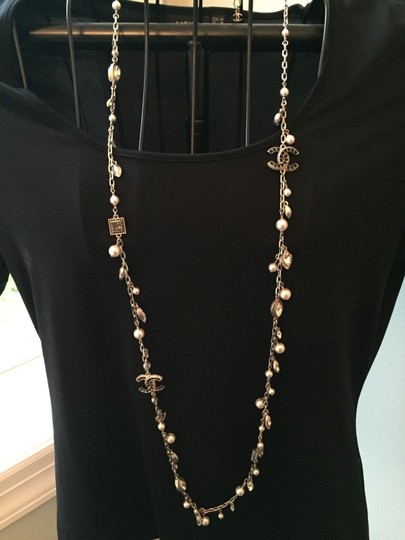 Chanel Chanel Necklace - Metal, Strass & Glass Pearls, Silver, Crystal Image 1