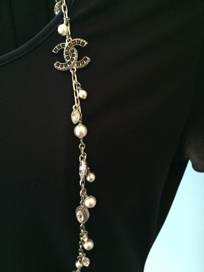 Chanel Chanel Necklace - Metal, Strass & Glass Pearls, Silver, Crystal Image 3