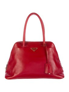 Prada Vintage Leather Couture Tote in Cherry Red