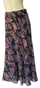 Jones New York Silk Gray Abract Floral Midi Skirt Multi-colored
