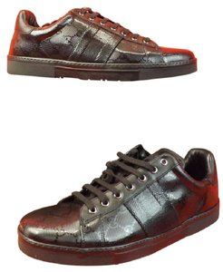 Gucci Men's Black Imprime Leather Ace Gg Guccissima Web Sneakers 14.5 15.5