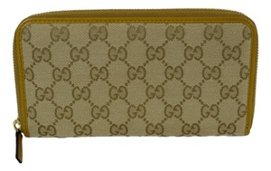Gucci Gucci 363423 Women's Sand Beige Canvas GG Guccissima Zip Around Wallet