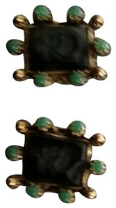 Other Antique Roman faux Jade and gold seed Pearl's Roman solder Cameo screw back