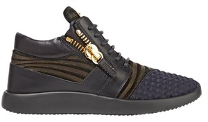 Giuseppe Zanotti Gold Zip Leather Sneakers Black Athletic