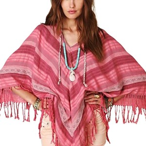 Free People Fringe Braid Stripes Cape