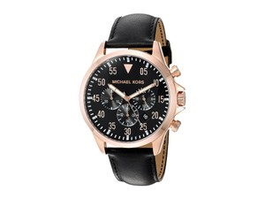 Michael Kors Michael Kors Men's Gage Black Leather Strap Watch 45mm MK8535