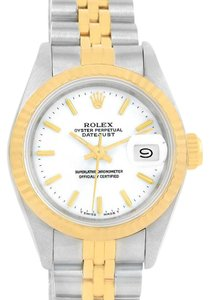 Rolex Rolex Datejust Steel 18K Yellow Gold White Dial Ladies Watch 69173