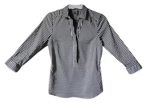 H&M Button Down Shirt stripes Navy Blue/ White