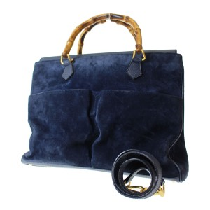 Gucci Bamboo Handles Equestrian Accents Exterior Pockets Xl Two-way Style Satchel in deep blue suede with leather