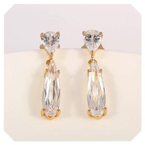 Other New White Sapphire Crystal Yellow GF Earrings