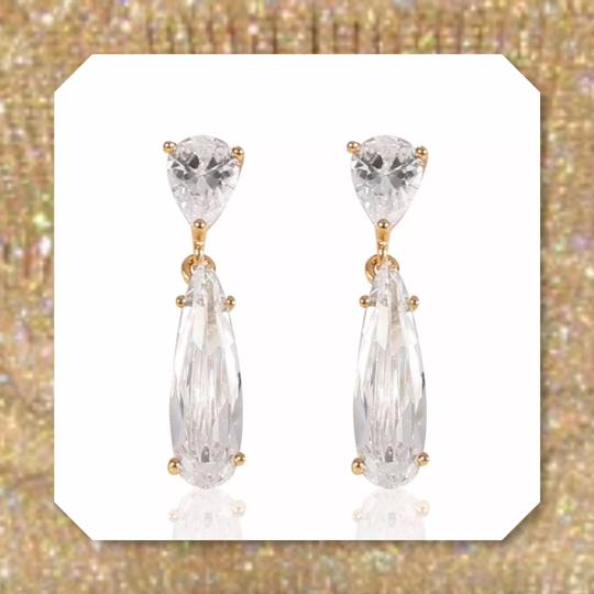 Other New White Sapphire Crystal Yellow GF Earrings Image 2