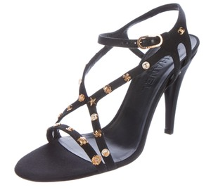 Chanel Gold Hardware Camellia Interlocking Cc Lucky Charm Strappy Black, Gold Sandals