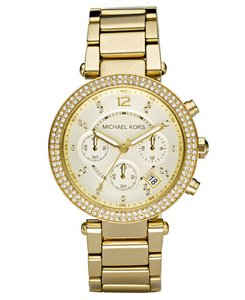 Michael Kors Glitz Chronograph Parker Gold Stainless Steel Bracelet Watch MK5354