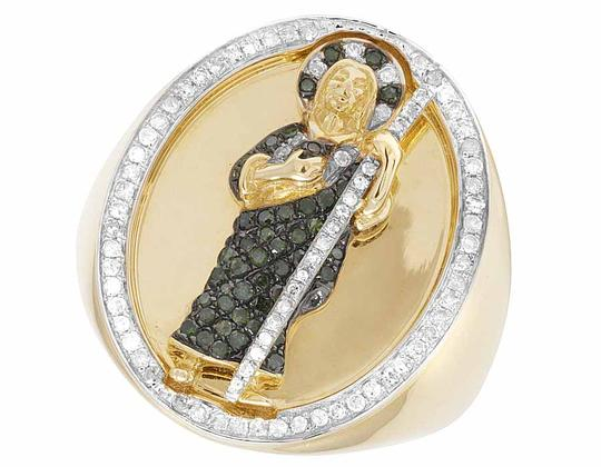 Other 10K Yellow Gold Real Diamond Green Diamond St. Jude Ring 2/3 CT 25MM Image 2