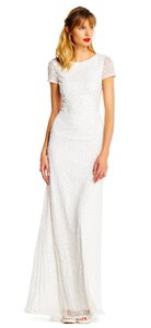 Adrianna Papell Full Length Beaded White Dress