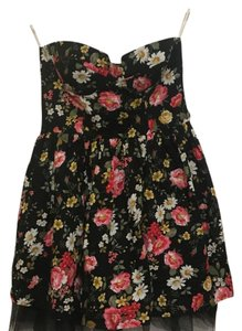 Poetry short dress black with floral print on Tradesy