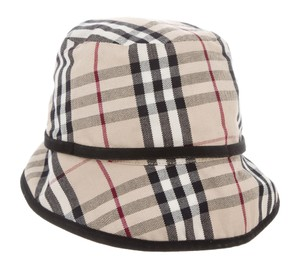 Burberry Tan, black multicolor Burberry Nova Check canvas sun hat