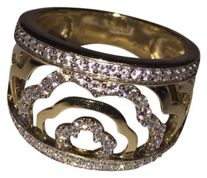 BJ 14l YG Filigree Open Work Wave Rows Wide Band Size 7 CZ Encrusted