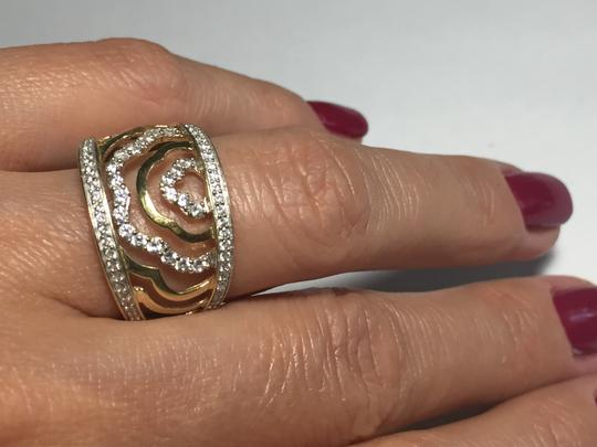 BJ 14l YG Filigree Open Work Wave Rows Wide Band Size 7 CZ Encrusted Image 1