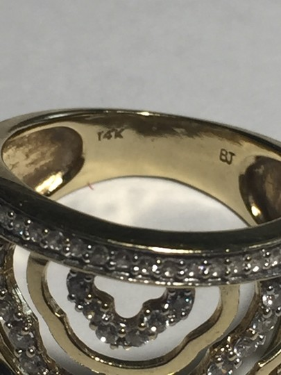 BJ 14l YG Filigree Open Work Wave Rows Wide Band Size 7 CZ Encrusted Image 4