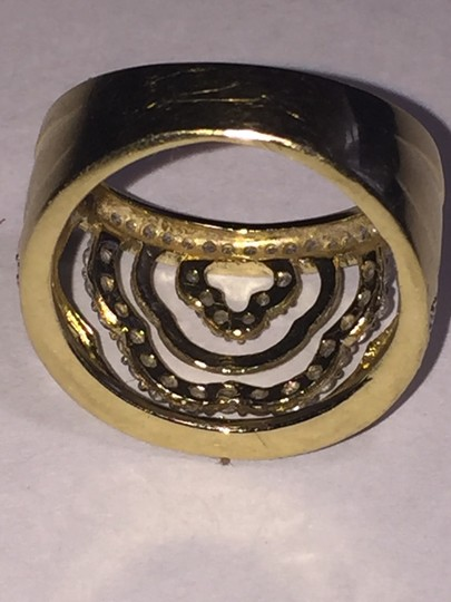 BJ 14l YG Filigree Open Work Wave Rows Wide Band Size 7 CZ Encrusted Image 5
