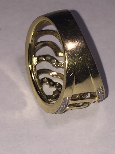 BJ 14l YG Filigree Open Work Wave Rows Wide Band Size 7 CZ Encrusted Image 6