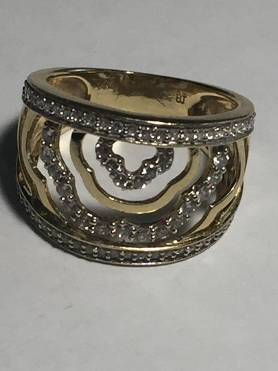 BJ 14l YG Filigree Open Work Wave Rows Wide Band Size 7 CZ Encrusted Image 7