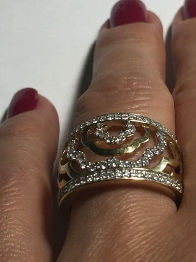 BJ 14l YG Filigree Open Work Wave Rows Wide Band Size 7 CZ Encrusted Image 8