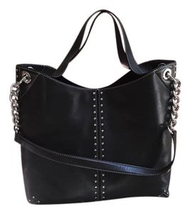 Michael Kors Mk Astor Studded Leather Chain Strap Tote in Black