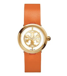 Tory Burch NWT Reva orange leather gold tone watch