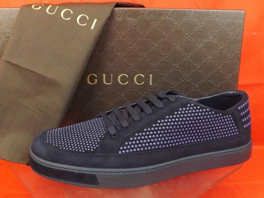 Gucci Navy Blue/Beige Mens Suede Leather Studded Bubble Sneakers 11.5 12.5 #391688 Shoes Image 2