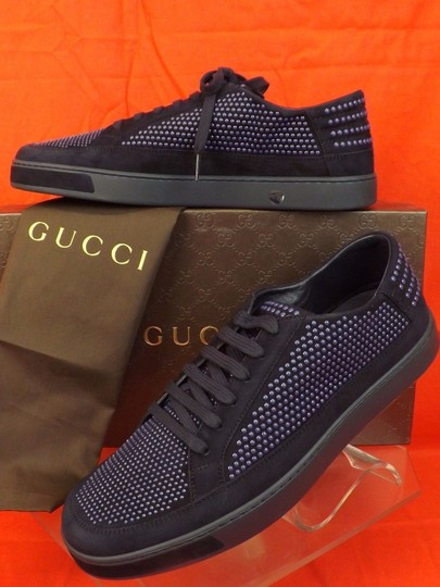 Gucci Navy Blue/Beige Mens Suede Leather Studded Bubble Sneakers 11.5 12.5 #391688 Shoes Image 3
