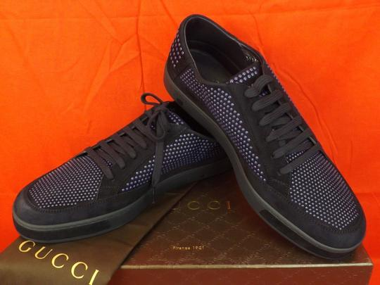 Gucci Navy Blue/Beige Mens Suede Leather Studded Bubble Sneakers 11.5 12.5 #391688 Shoes Image 4