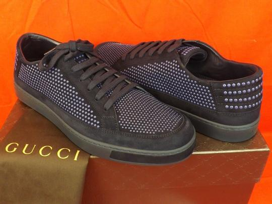 Gucci Navy Blue/Beige Mens Suede Leather Studded Bubble Sneakers 11.5 12.5 #391688 Shoes Image 5