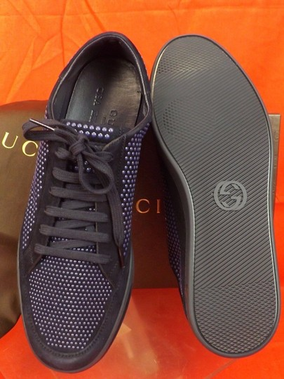Gucci Navy Blue/Beige Mens Suede Leather Studded Bubble Sneakers 11.5 12.5 #391688 Shoes Image 6