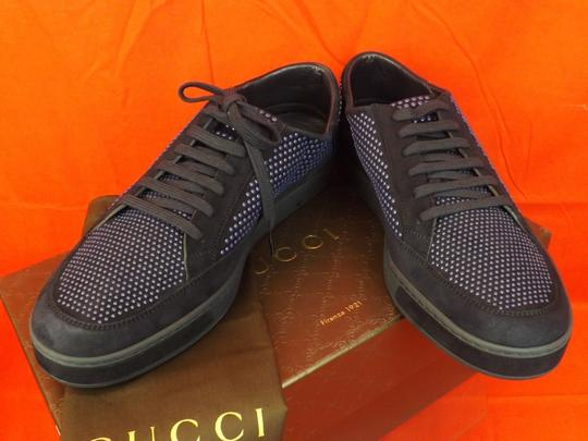 Gucci Navy Blue/Beige Mens Suede Leather Studded Bubble Sneakers 11.5 12.5 #391688 Shoes Image 9