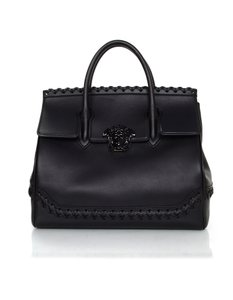 Versace Palazzo Empire Calf Leather Woven Satchel Shoulder Bag