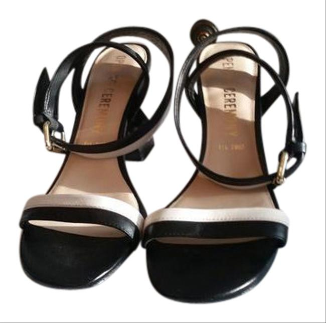 Item - Black and White Two-piece Leather Sandals Size US 9.5 Regular (M, B)