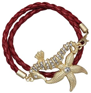 Other Crystal Accent Starfish Seahorse Red Strap Wrap Around Bracelet