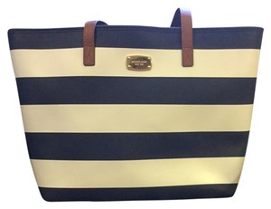 Michael Kors navy blue with white stripes and dark brown leather straps Beach Bag