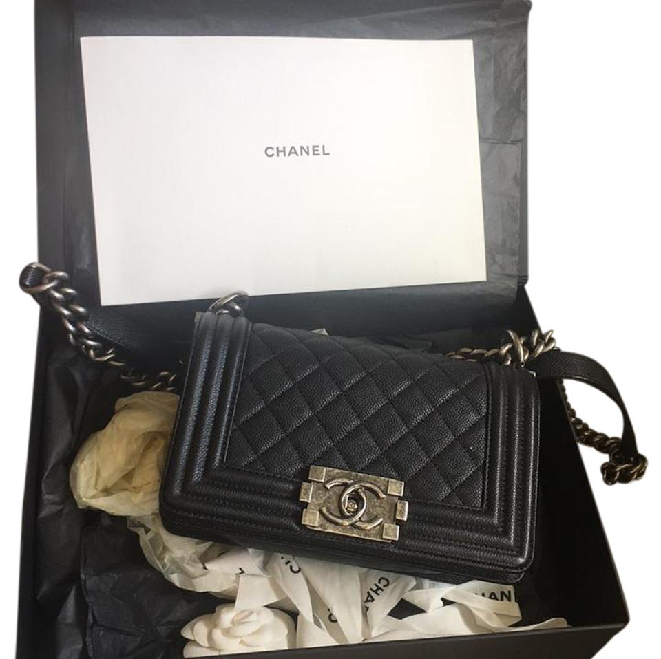 932e7a27c814 Chanel Boy Le with Silver Ruthenium Hardware Black Caviar Shoulder ...