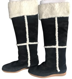 Michael Kors Black suede with white fur trim Boots